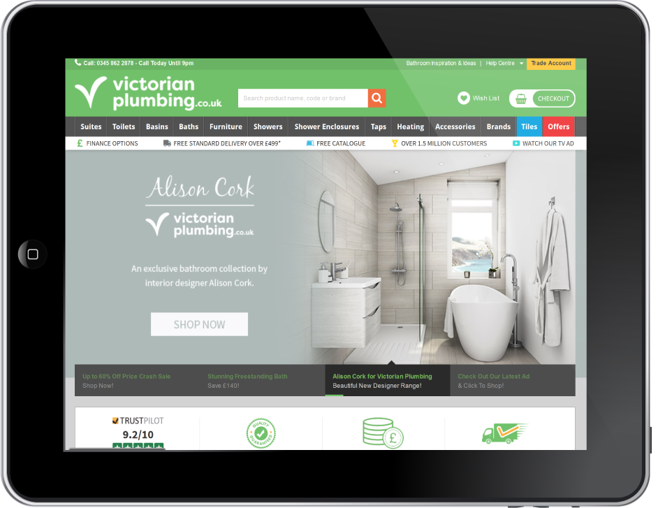 Victorian Plumbing Website on ipad