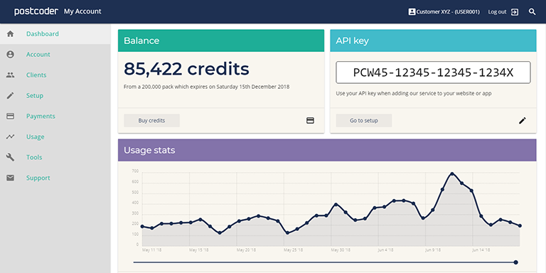 Postcoder's My Account pages receive a visual and technical makeover